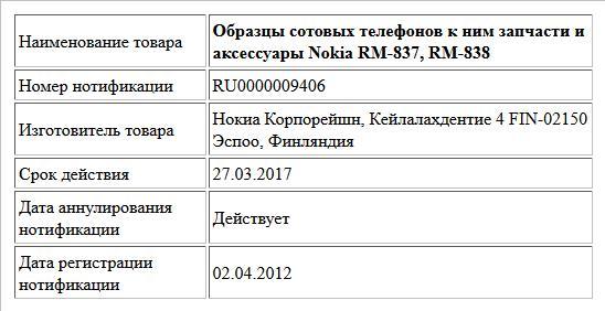 Образцы сотовых телефонов к ним запчасти и аксессуары Nokia RM-837, RM-838