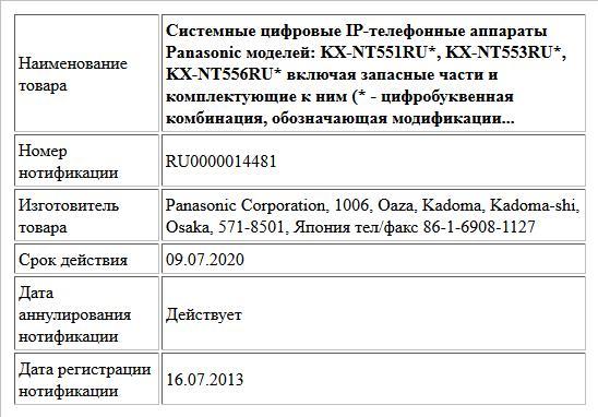 Системные цифровые IP-телефонные аппараты Panasonic моделей: KX-NT551RU*, KX-NT553RU*, KX-NT556RU* включая запасные части и комплектующие к ним (* - цифробуквенная комбинация, обозначающая модификации...