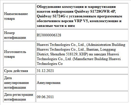 Оборудование коммутации и маршрутизации пакетов информации Quidway S1728GWR-4P, Quidway S1724G с установленным программным обеспечением версии VRP V5, комплектующие и запасные части к ним