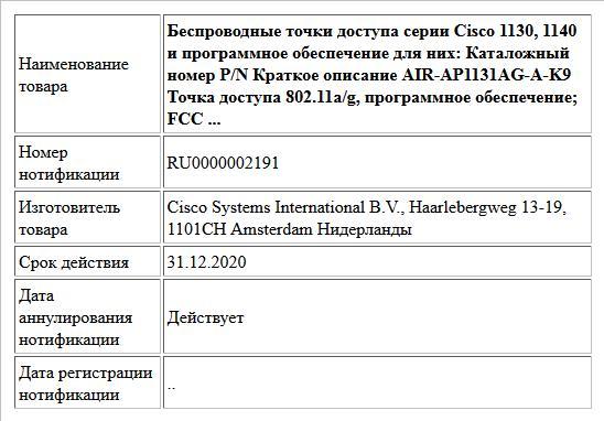 Беспроводные точки доступа серии Cisco 1130, 1140 и программное обеспечение для них:  Каталожный номер P/N Краткое описание  AIR-AP1131AG-A-K9 Точка доступа 802.11a/g, программное обеспечение; FCC  ...