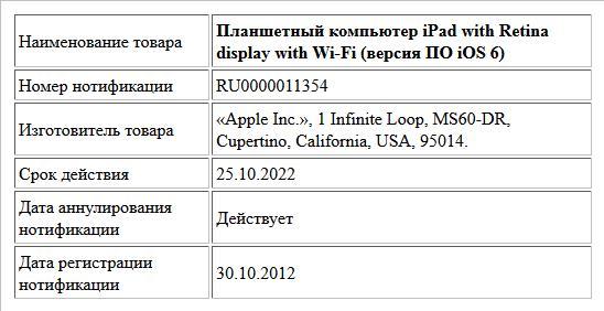 Планшетный компьютер iPad with Retina display with Wi-Fi (версия ПО iOS 6)