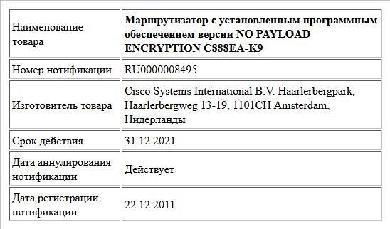 Маршрутизатор с установленным программным  обеспечением версии NO PAYLOAD ENCRYPTION C888EA-K9