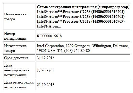 Схема электронная интегральная (микропроцессор) Intel® Atom™ Processor C2758 (FH8065501516702) Intel® Atom™ Processor C2738 (FH8065501516702) Intel® Atom™ Processor C2538 (FH8065501516709) Intel® Atom...