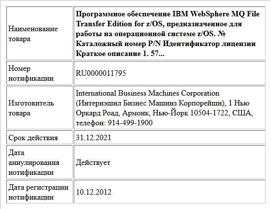 Программное обеспечение IBM WebSphere MQ File Transfer Edition for z/OS, предназначенное для работы на операционной системе z/OS. № Каталожный номер P/N Идентификатор лицензии Краткое описание 1. 57...
