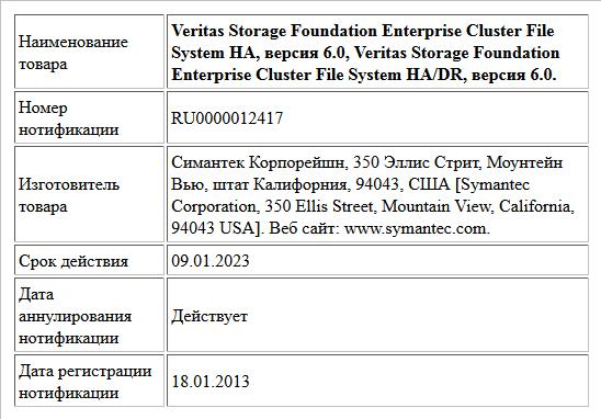 Veritas Storage Foundation Enterprise Cluster File System HA, версия 6.0, Veritas Storage Foundation Enterprise Cluster File System HA/DR, версия 6.0.