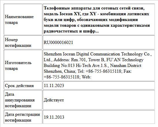 Телефонные аппараты для сотовых сетей связи, модель Iocean XY, где XY - комбинация латинских букв или цифр, обозначающих модификации модели товаров с одинаковыми характеристиками радиочастотных и шифр...
