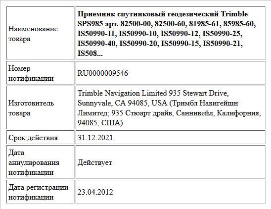 Приемник спутниковый геодезический  Trimble SPS985  арт. 82500-00, 82500-60, 81985-61, 85985-60, IS50990-11, IS50990-10, IS50990-12, IS50990-25, IS50990-40, IS50990-20, IS50990-15, IS50990-21, IS508...