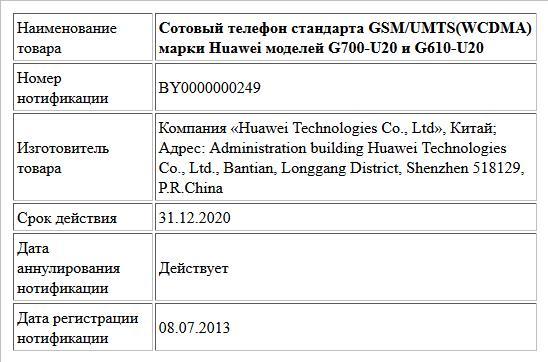 Сотовый телефон стандарта GSM/UMTS(WCDMA) марки Huawei моделей G700-U20 и G610-U20
