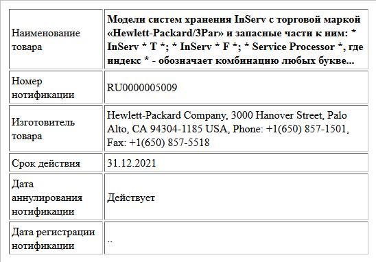 Модели систем хранения InServ с торговой маркой «Hewlett-Packard/3Par» и запасные части к ним: * InServ * T *; * InServ * F *; * Service Processor *, где индекс * - обозначает комбинацию любых букве...