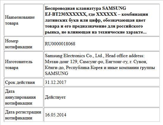 Беспроводная клавиатура SAMSUNG EJ-BT230XXXXXX, где ХХХХХХ – комбинация латинских букв или цифр, обозначающая цвет товара и его предназначение для российского рынка, не влияющая на технические характе...