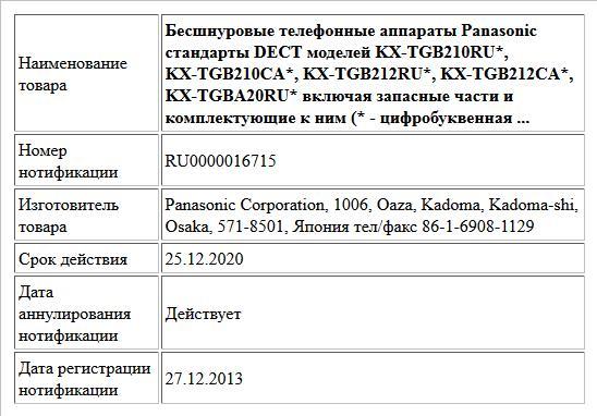 Бесшнуровые телефонные аппараты Panasonic стандарты DECT моделей KX-TGB210RU*, KX-TGB210CA*, KX-TGB212RU*, KX-TGB212CA*, KX-TGBA20RU* включая запасные части и комплектующие к ним (* - цифробуквенная  ...