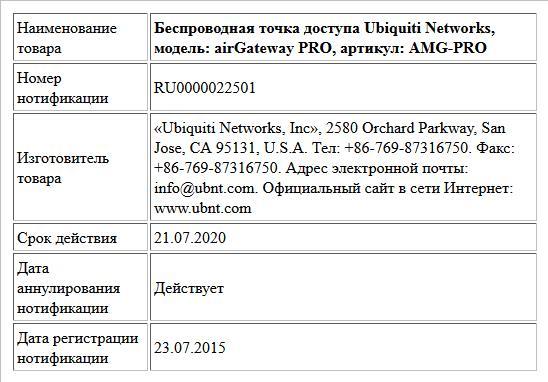 Беспроводная точка доступа Ubiquiti Networks, модель: airGateway PRO, артикул: AMG-PRO