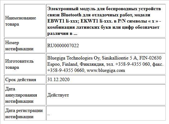 Электронный модуль для беспроводных устройств связи Bluetooth для отладочных работ, модели EBWT1 li-xxx; EKWT1 li-xxx. в P/N символы « х » - комбинация латинских букв или цифр обозначает различия в ...