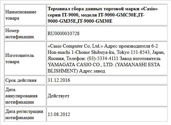 Терминал сбора данных торговой марки «Casio» серии IT-9000, модели IT-9000-GMC30E,IT-9000-GM35E,IT-9000-GM30E