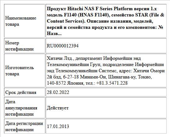 Продукт Hitachi NAS F Series Platform версия 1.x модель F1140 (HNAS F1140), семейство STAR (File & Content Services). Описание названия, моделей, версий и семейства продукта и его компонентов: № Назв...