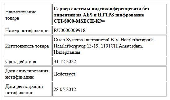 Сервер системы видеоконференцсвязи без лицензии на AES и HTTPS шифрование CTI-8000-MSECH-K9=