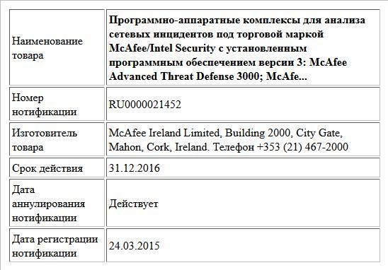 Программно-аппаратные комплексы для анализа сетевых инцидентов под торговой маркой McAfee/Intel Security c установленным программным обеспечением  версии 3: McAfee Advanced Threat Defense 3000; McAfe...