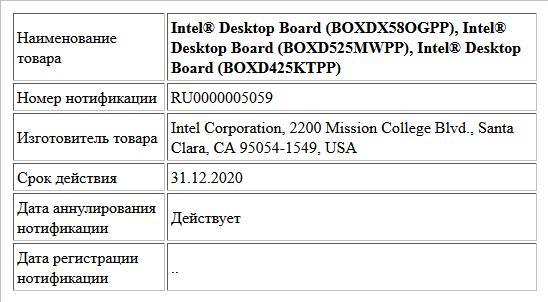 Intel® Desktop Board (BOXDX58OGPP), Intel® Desktop Board (BOXD525MWPP), Intel® Desktop Board (BOXD425KTPP)