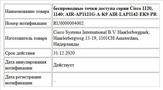 беспроводные точки доступа серии Cisco 1120, 1140: AIR-AP1121G-A-K9 AIR-LAP1142-EK9-PR
