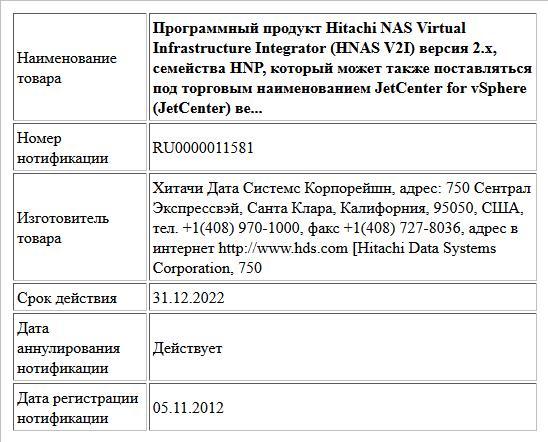 Программный продукт Hitachi NAS Virtual Infrastructure Integrator (HNAS V2I) версия 2.х, семейства HNP, который может также поставляться под торговым наименованием JetCenter for vSphere (JetCenter) ве...