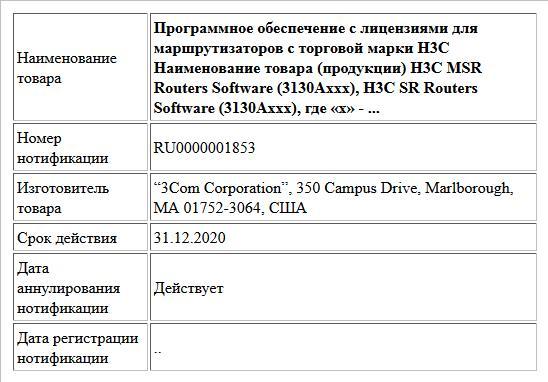 Программное обеспечение с лицензиями для маршрутизаторов с торговой марки H3C  Наименование товара (продукции) H3C MSR  Routers Software (3130Аххх), H3C SR  Routers Software (3130Аххх), где «х» - ...