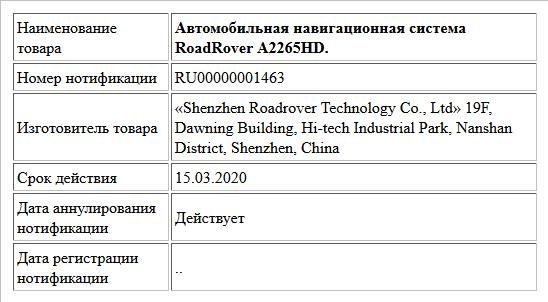 Автомобильная навигационная система RoadRover A2265HD.