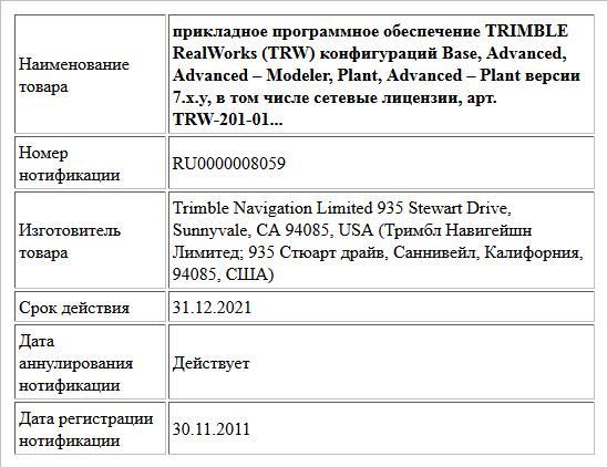прикладное программное обеспечение  TRIMBLE RealWorks (TRW) конфигураций Base, Advanced, Advanced – Modeler, Plant,     Advanced – Plant версии 7.x.y, в том числе сетевые лицензии,  арт. TRW-201-01...