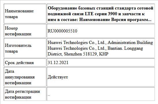 Оборудование базовых станций стандарта сотовой подвижной связи LTE серии 3900 и запчасти к ним в составе:  Наименование                                                                 Версия программ...
