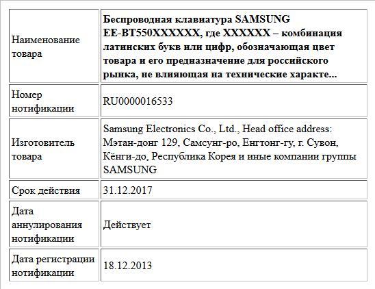 Беспроводная клавиатура SAMSUNG EE-BT550XXXXXX, где ХХХХХХ – комбинация латинских букв или цифр, обозначающая цвет товара и его предназначение для российского рынка, не влияющая на технические характе...