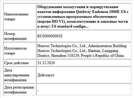 Оборудование коммутации и маршрутизации пакетов информации Quidway Eudemon 1000E-U6 с установленным программным обеспечением (версия ПО V1), комплектующие и запасные части к нему: U6 standard configu...