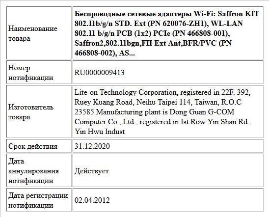 Беспроводные сетевые адаптеры Wi-Fi: Saffron KIT 802.11b/g/n STD. Ext (PN 620076-ZH1), WL-LAN 802.11 b/g/n PCB (1x2) PCIe (PN 466808-001), Saffron2,802.11bgn,FH Ext Ant,BFR/PVC (PN 466808-002), AS...