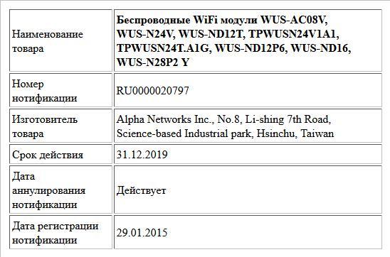 Беспроводные WiFi модули WUS-AC08V, WUS-N24V, WUS-ND12T, TPWUSN24V1A1, TPWUSN24T.A1G, WUS-ND12P6, WUS-ND16, WUS-N28P2 Y