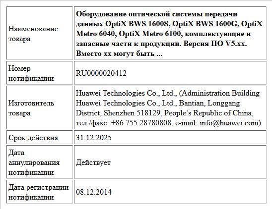 Оборудование оптической системы передачи данных OptiX BWS 1600S, OptiX BWS 1600G, OptiX Metro 6040, OptiX Metro 6100, комплектующие и запасные части к продукции. Версия ПО V5.xx. Вместо хх могут быть ...