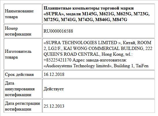 Планшетные компьютеры торговой марки «SUPRA», модели M145G, M621G, M625G, M723G, M725G, M741G, M742G, M846G, M847G
