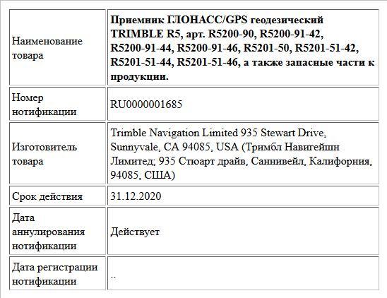 Приемник ГЛОНАСС/GPS геодезический TRIMBLE R5, арт. R5200-90, R5200-91-42, R5200-91-44, R5200-91-46, R5201-50, R5201-51-42, R5201-51-44, R5201-51-46, а также запасные части к продукции.