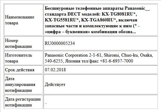 Бесшнуровые телефонные аппараты Panasonic__ стандарта DECT моделей: KX-TG8081RU*, KX-TG5581RU*, KX-TGA860RU*,  включая запасные части и комплектующие к ним (* - «цифра – буквенная»  комбинация обозна...