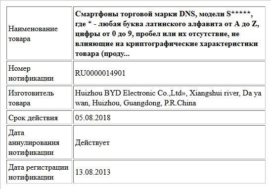 Смартфоны торговой марки DNS, модели S*****, где * - любая буква латинского алфавита от A до Z, цифры от 0 до 9, пробел или их отсутствие, не влияющие на криптографические характеристики товара (проду...