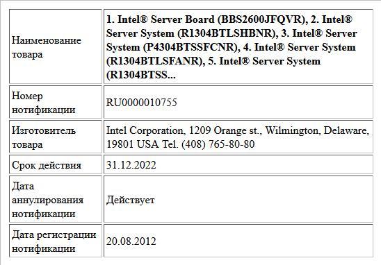1. Intel® Server Board (BBS2600JFQVR), 2. Intel® Server System (R1304BTLSHBNR), 3. Intel® Server System (P4304BTSSFCNR), 4. Intel® Server System (R1304BTLSFANR), 5. Intel® Server System (R1304BTSS...