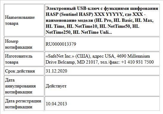 Электронный usbключ с нотификация ФСБ