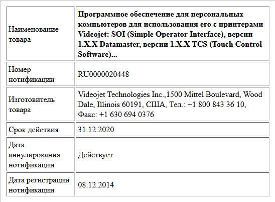Программное обеспечение для персональных компьютеров для использования его с принтерами Videojet: SOI (Simple Operator Interface), версии 1.X.X Datamaster, версии 1.X.X TCS (Touch Control Software)...