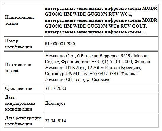 интегральные монолитные цифровые схемы  MODR GTO001 HM WIDE GUG1078 RUV WCu, интегральные монолитные цифровые схемы  MODR GTO001 HM WIDE GUG1078.WCu RUV GOUT, интегральные монолитные цифровые схемы ...