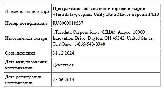 Программное обеспечение торговой марки «Teradata», серии: Unity Data Mover версии 14.10