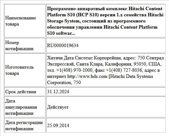 Программно-аппаратный комплекс Hitachi Content Platform S10 (HCP S10) версия 1.х семейства Hitachi Storage System, состоящий из программного обеспечения управления Hitachi Content Platform S10 softwar...