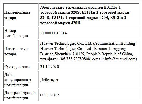 Абонентские терминалы моделей Е3121u-1 торговой марки 320S, E3121u-2 торговой марки 320D,  E3131s-1 торговой марки 420S, E3131s-2 торговой марки 420D
