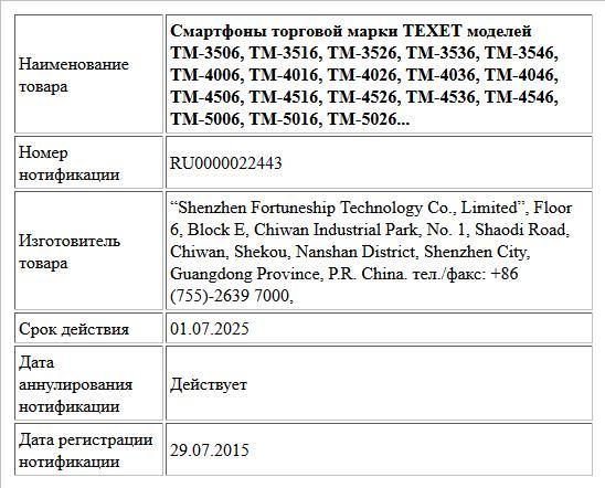 Смартфоны торговой марки TEXET моделей  TM-3506, TM-3516, TM-3526, TM-3536, TM-3546, TM-4006, TM-4016, TM-4026, TM-4036, TM-4046, TM-4506, TM-4516, TM-4526, TM-4536, TM-4546, TM-5006, TM-5016, TM-5026...
