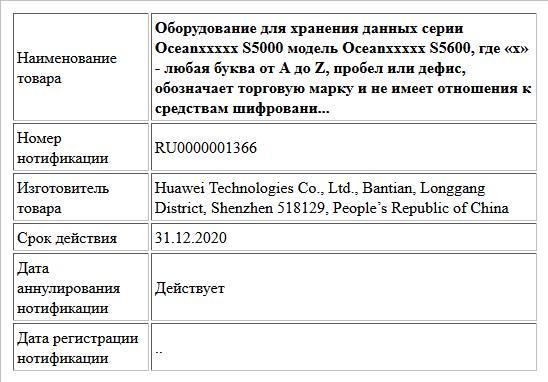 Оборудование для хранения данных серии Oceanххххх S5000 модель Oceanххххх S5600, где «х» - любая буква от A до Z, пробел или дефис, обозначает торговую марку и не имеет отношения к средствам шифровани...
