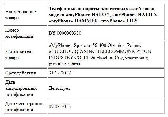 Телефонные аппараты для сотовых сетей связи модели «myPhone» HALO 2, «myPhone» HALO X, «myPhone» HAMMER, «myPhone» LILY