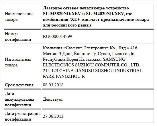 Лазерное сетевое печатающее устройство SL-M3820ND/XEV и SL-M4020ND/XEV, где комбинация /XEV означает предназначение товара для российского рынка
