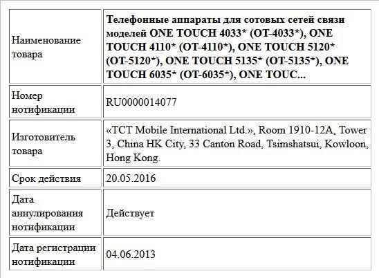Телефонные аппараты для сотовых сетей связи моделей ONE TOUCH 4033* (OT-4033*), ONE TOUCH 4110* (OT-4110*), ONE TOUCH 5120* (OT-5120*), ONE TOUCH 5135* (OT-5135*), ONE TOUCH 6035* (OT-6035*), ONE TOUC...
