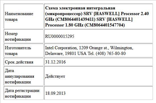 Схема электронная интегральная (микропроцессор) SRV [HASWELL] Processor 2.40 GHz (CM8064401439411) SRV [HASWELL] Processor 1.80 GHz (CM8064401547704)